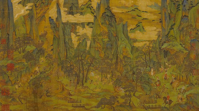 Emperor Xuanzong of Tang fleeing to Sichuan province from Chang'an, anonymous, original image wikipedia